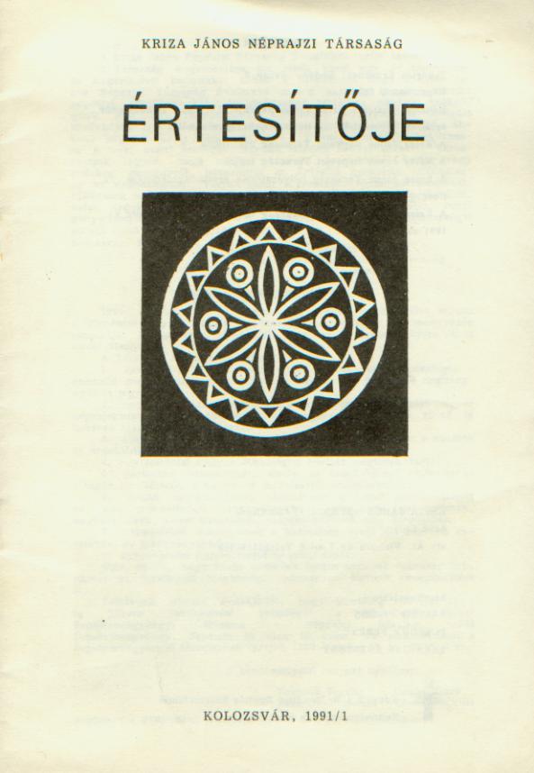 [Buletinul Asociaţiei Etnografice Kriza János. Vol. I. Nr. 1.] A Kriza János Néprajzi Társaság Értesítője. I. évf. 1. sz.