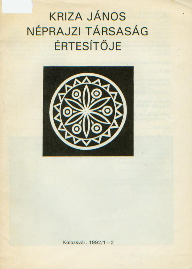 [Buletinul Asociaţiei Etnografice Kriza János. Vol. II. Nr. 1–2.] A Kriza János Néprajzi Társaság Értesítője. II. évf. 1–2. sz.