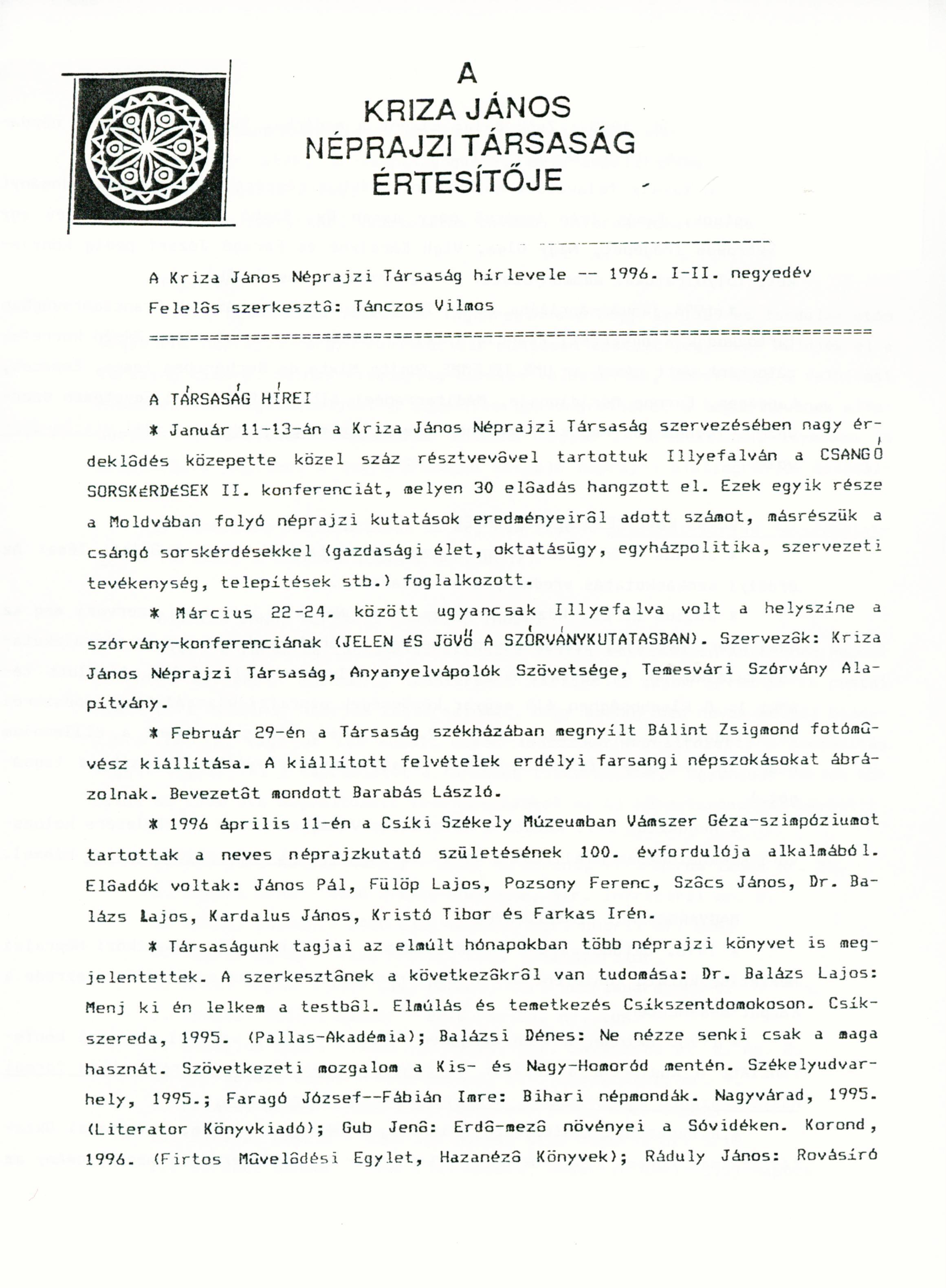 [Buletinul Asociaţiei Etnografice Kriza János. Vol. VI. Nr. 1–2.] A Kriza János Néprajzi Társaság Értesítője. VI. évf. 1–2. sz.