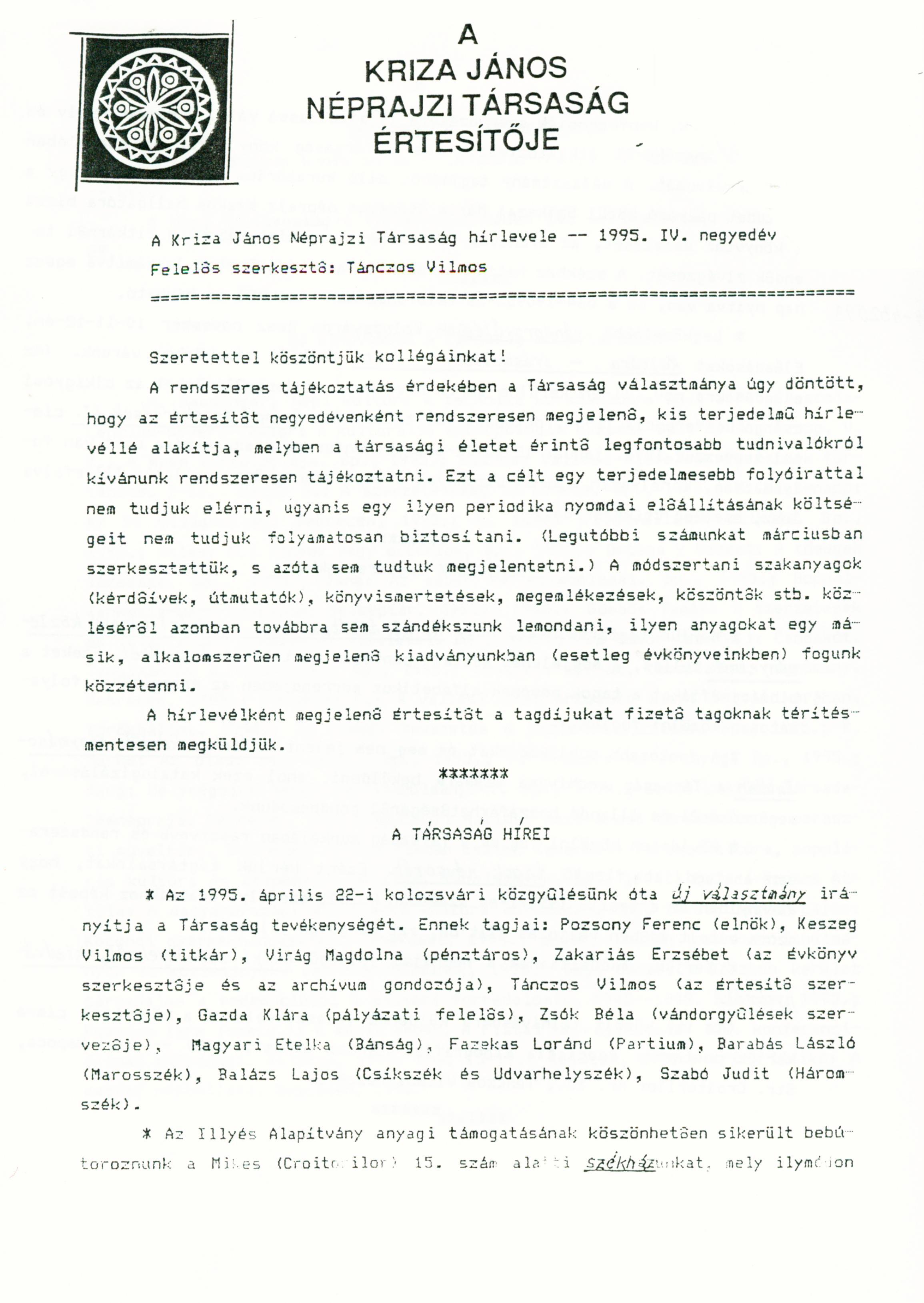 [Buletinul Asociaţiei Etnografice Kriza János. Vol. V. Nr. 4.] A Kriza János Néprajzi Társaság Értesítője. V. évf. 4. sz.