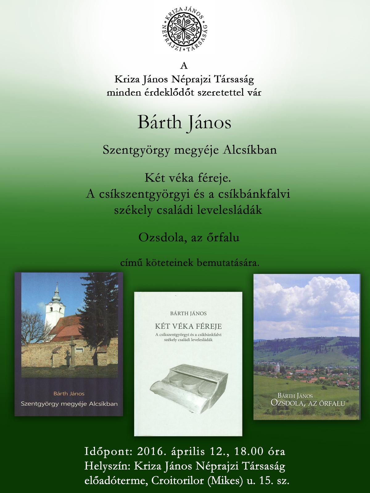 Bárth János könyveinek bemutatója